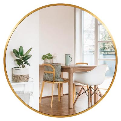 30 in. x 30 in. Modern Style Round Mirror Aluminum Framed Gold Shatter-Proof Accent Mirror Wall Mirror
