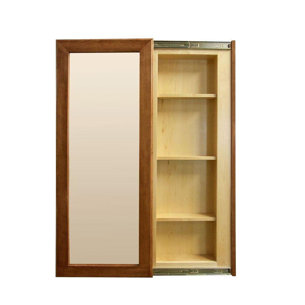 InvisiDoor 21 in. x 53 in. Unfinished Cherry InvisiFrame Hidden Storage Sliding Door