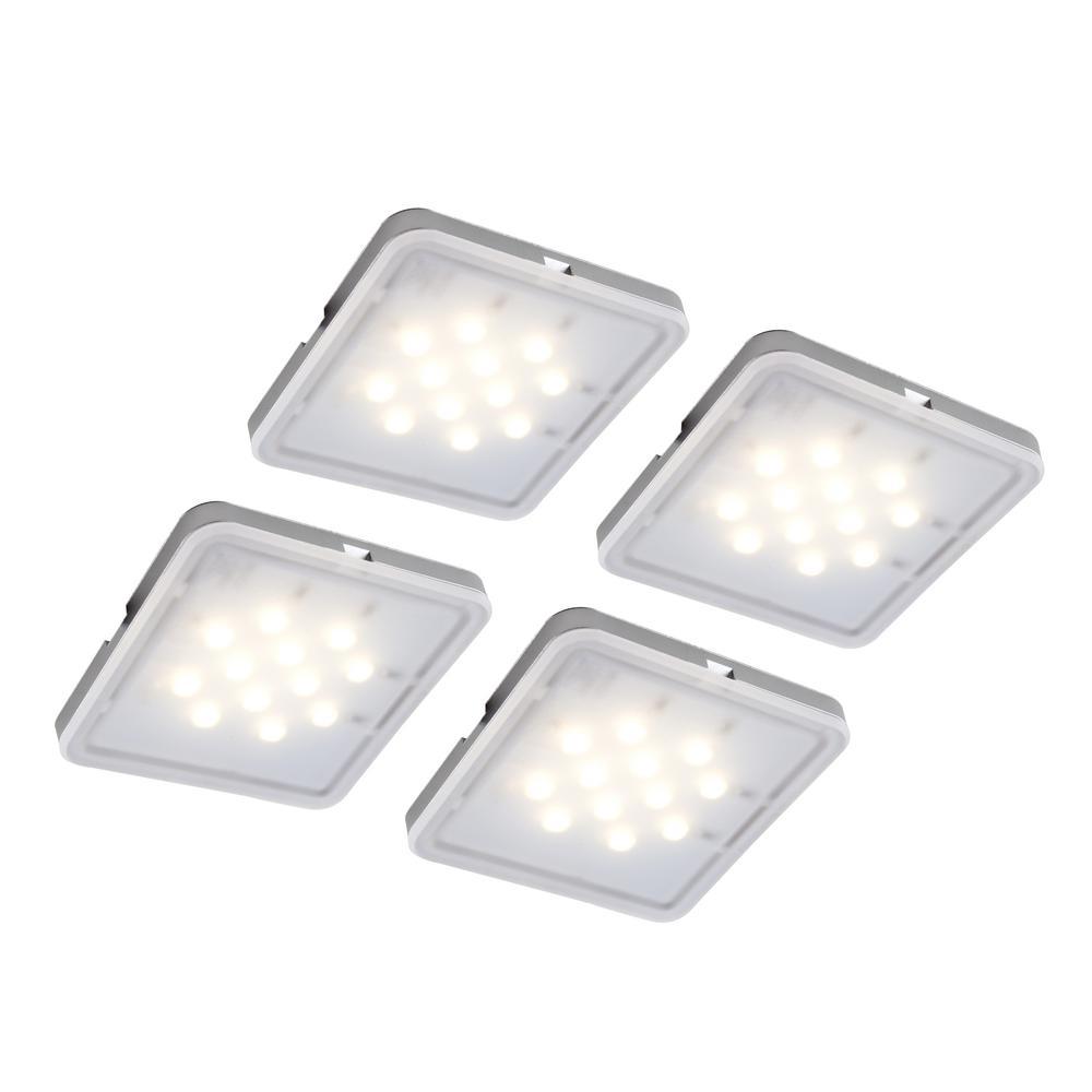 LED Square Pucks For Under-Cabinet Light (4-Pack)-JU16711W