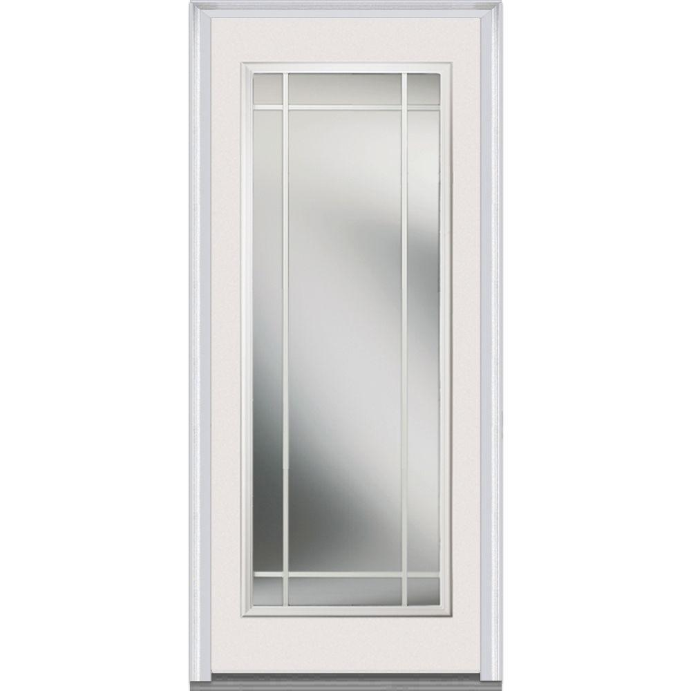 MMI Door 36 in. x 80 in. Internal Grilles Left-Hand Inswing Full Lite Clear Painted Fiberglass Smooth Prehung Front Door