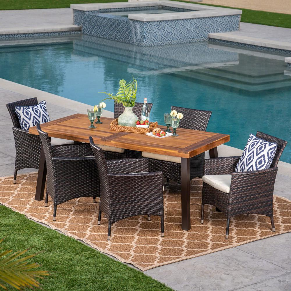 Noble House 7-Piece Wicker, Wood and Iron Rectangular Outdoor Dining Set with Beige Cushion