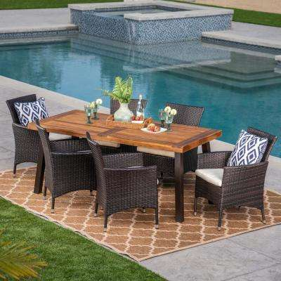 7-Piece Wicker, Wood and Iron Rectangular Outdoor Dining Set with Beige Cushion