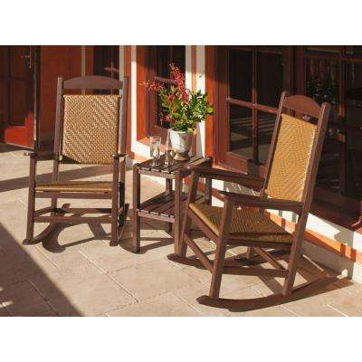 Presidential Mahogany Frame/Tigerwood Woven 3-Piece Rocker Patio Seating Set