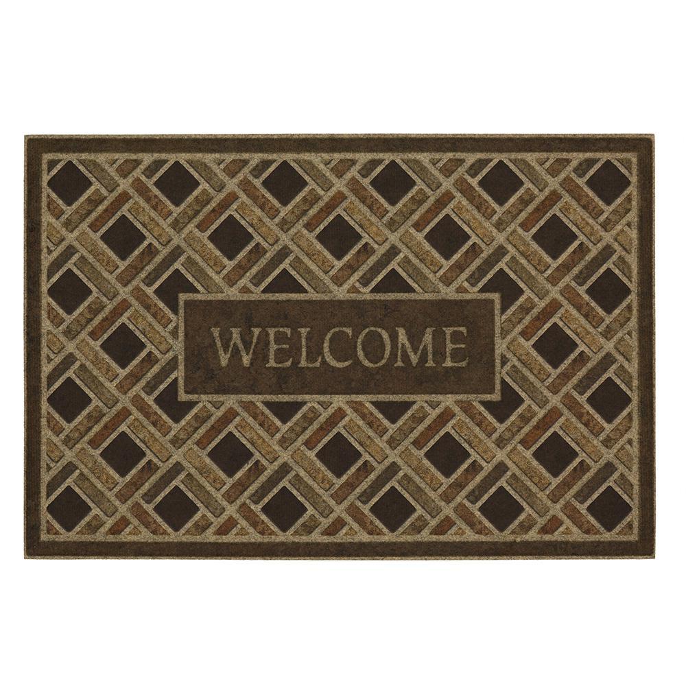 Woven Border Welcome Impressions 24 in. x 36 in. Door Mat