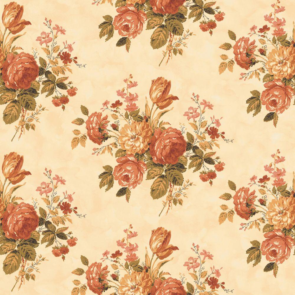 The Wallpaper Company 56 sq. ft. Orange Cottage Rose Wallpaper