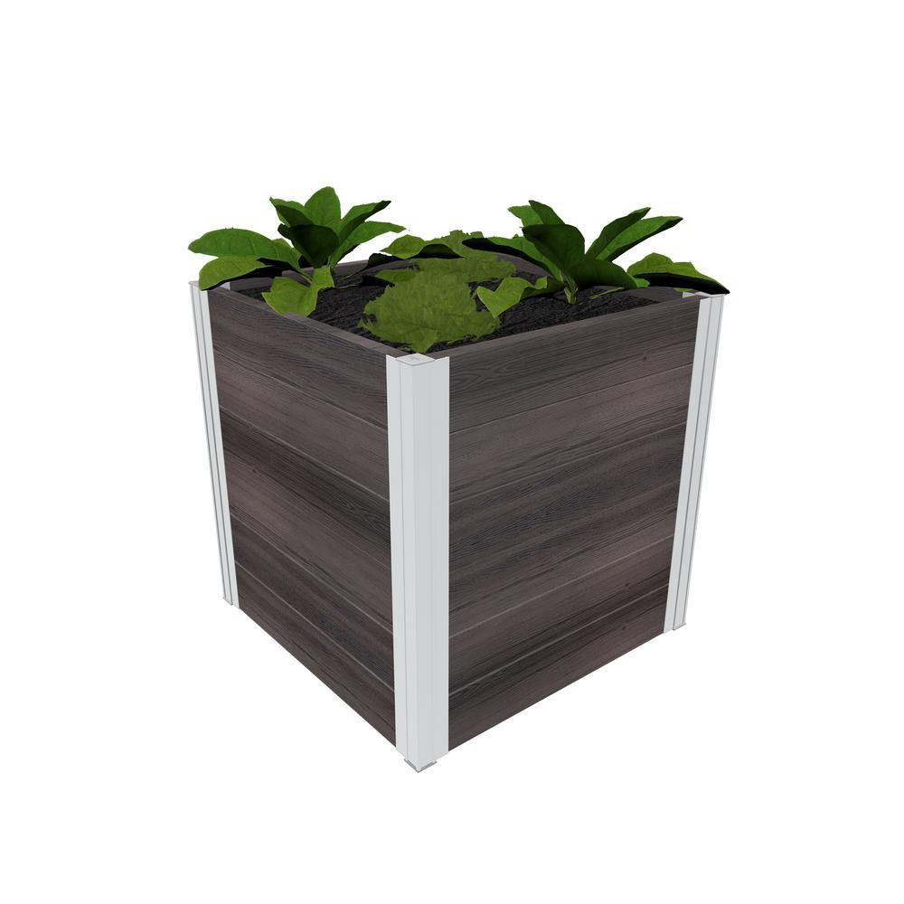 Urbana 22 in. x 22 in. x 22 in. Espresso Brown Vinyl Cube Planter