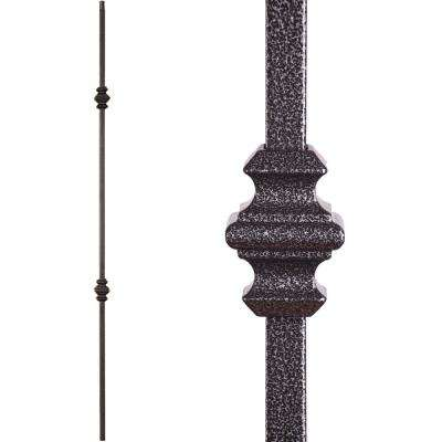Versatile 44 in. x 0.5 in. Silver Vein Double Knuckle Hollow Wrought Iron Baluster