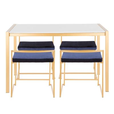 Fuji 5-Piece Gold Dining Set with White Marble Top and Blue Velvet Upholstery