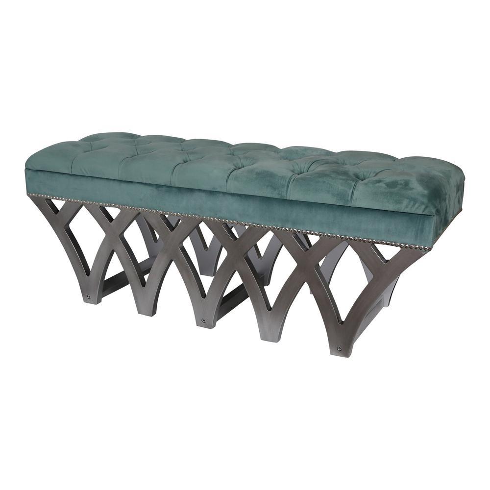 Roxy Tufted Blue Velvet Bench