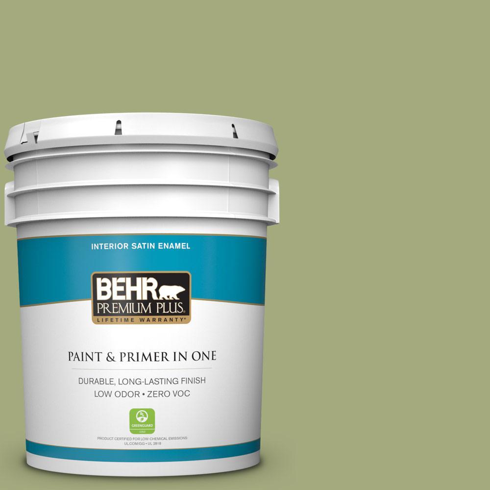 BEHR Premium Plus 5-gal. #M350-5 Mossy Cavern Satin Enamel Interior Paint