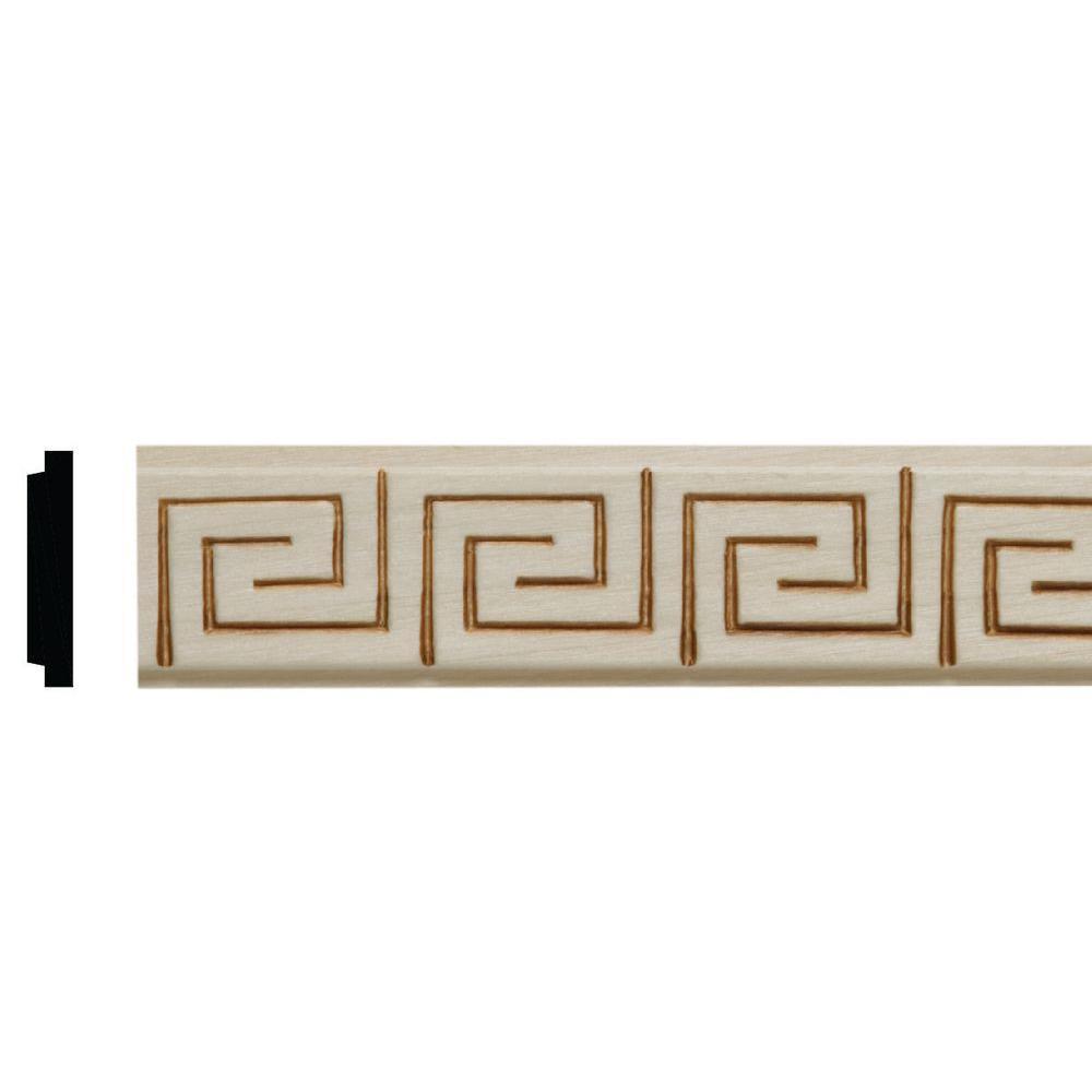 7/32 in. x 1-1/16 in. x 96 in. White Hardwood Greek Key Embossed Moulding