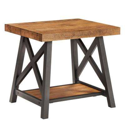 Oak End Table With Shelf