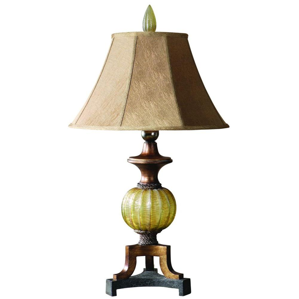 Global Direct 34 in. Translucent Sea Green Table Lamp