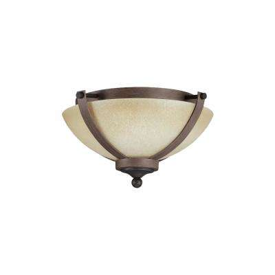 Corbeille 15. in. W. 2-Light Weathered Gray and Distressed Oak Ceiling Flush Mount with Creme Glass and LED Bulbs
