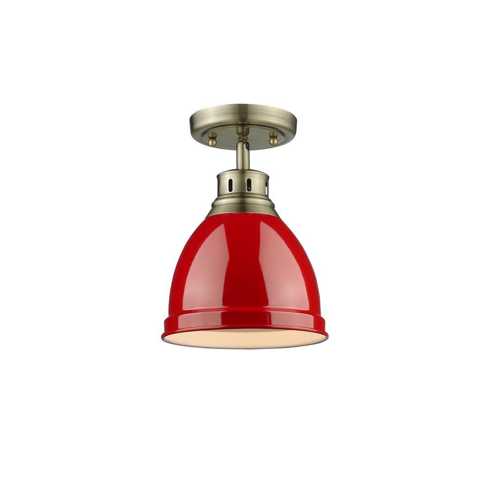 Duncan AB 1-Light Aged Brass Flushmount Light