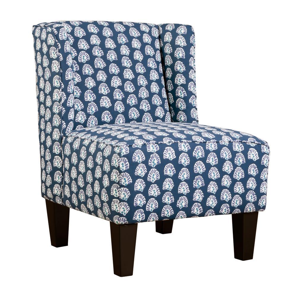 Charlie Lapis Blue Winged Upholstered Slipper Chair 5175-30-RA106