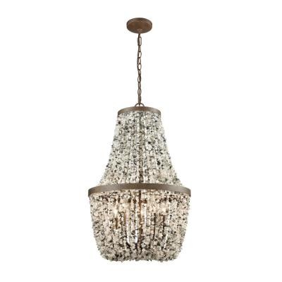 Agate Stones 5-Light Weathered Bronze Chandelier with Gray Agate Stones Shade
