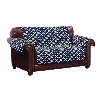 Coby Water Resistant Navy Fit Polyester Fit Loveseat Slip Cover