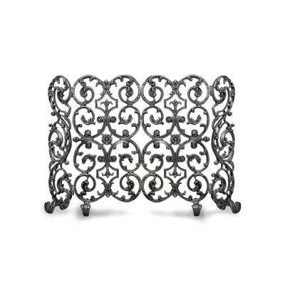 Avalon Silver Rub 2-Panel 46 in. wide Fireplace Screen with Sides