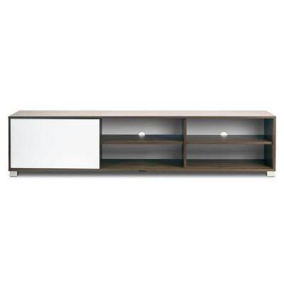 Anne TV Stand Walnut Finish TV Console with Contrasting White Door