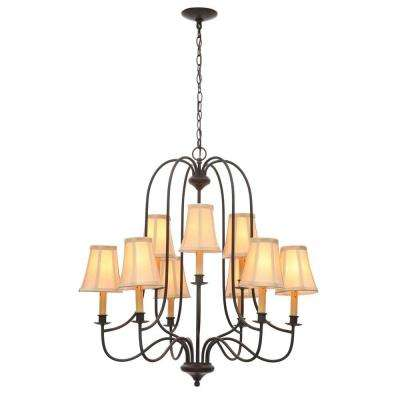 Brondy 9-Light Aged Ebony Chandelier
