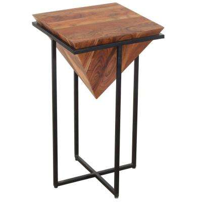 26 in. Brown and Black Pyramid Shape Wooden Side Table with Cross Metal Base