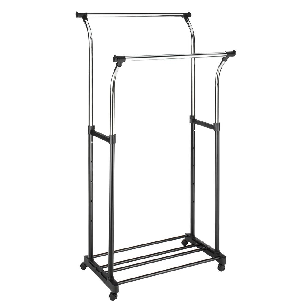 whitmor 34 5 in x 68 in ebony and chrome double adjustable steel garment rack and shelf. Black Bedroom Furniture Sets. Home Design Ideas