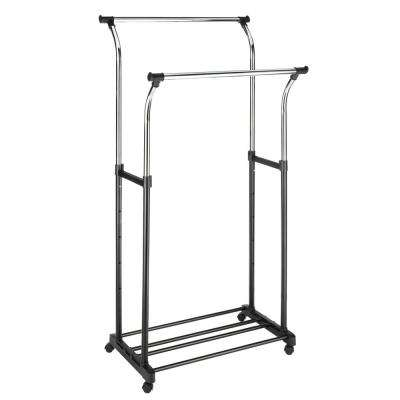 34.5 in. x 68 in. Ebony and Chrome Double Adjustable Steel Garment Rack and Shelf