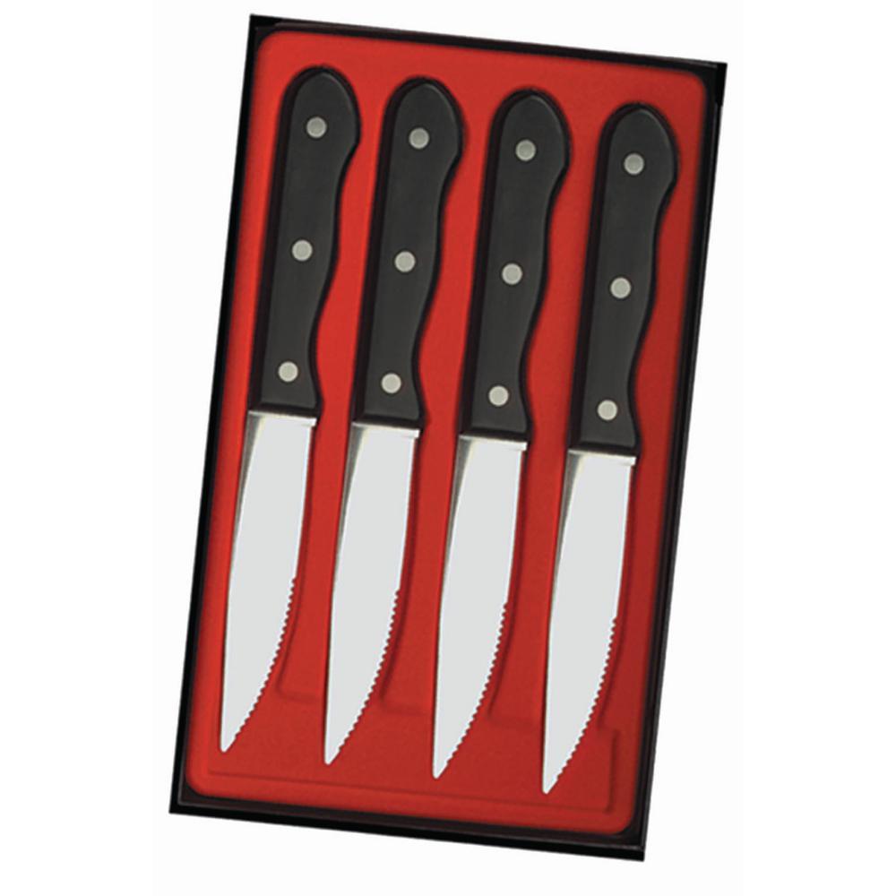 Utica Cutlery Company Black Delrin Handle, 4 pc Steak Knife Set