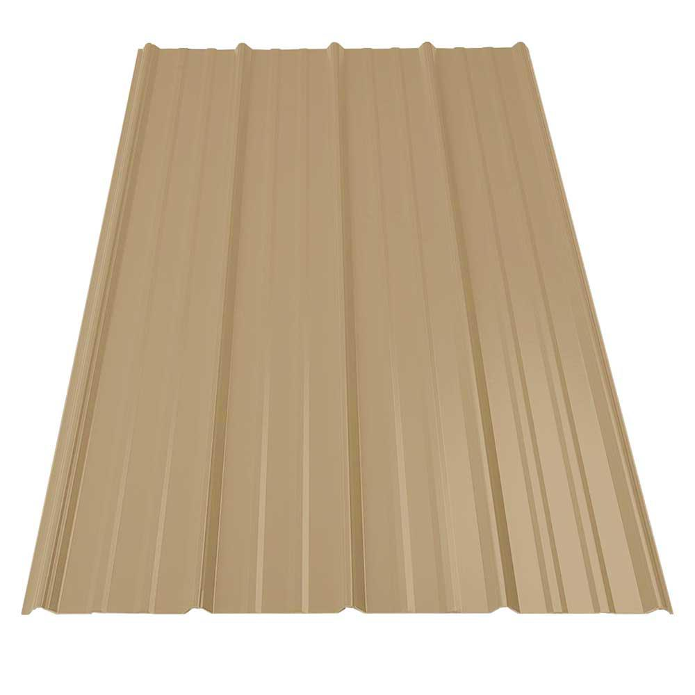 8 ft. SM-Rib Galvanized Steel 29-Gauge Roof Panel in Mocha Tan