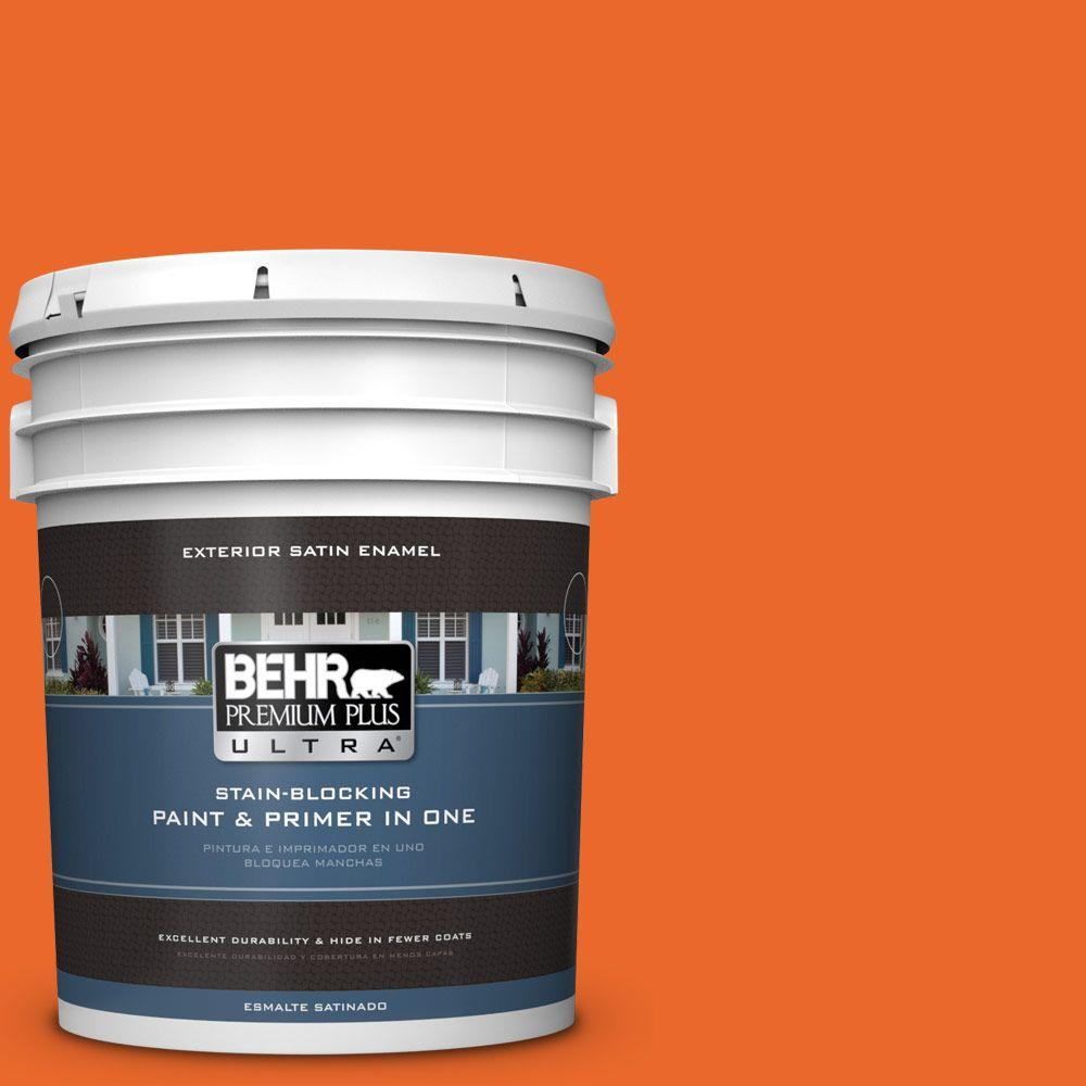 BEHR Premium Plus Ultra 5-gal. #220B-7 Electric Orange Satin Enamel Exterior Paint