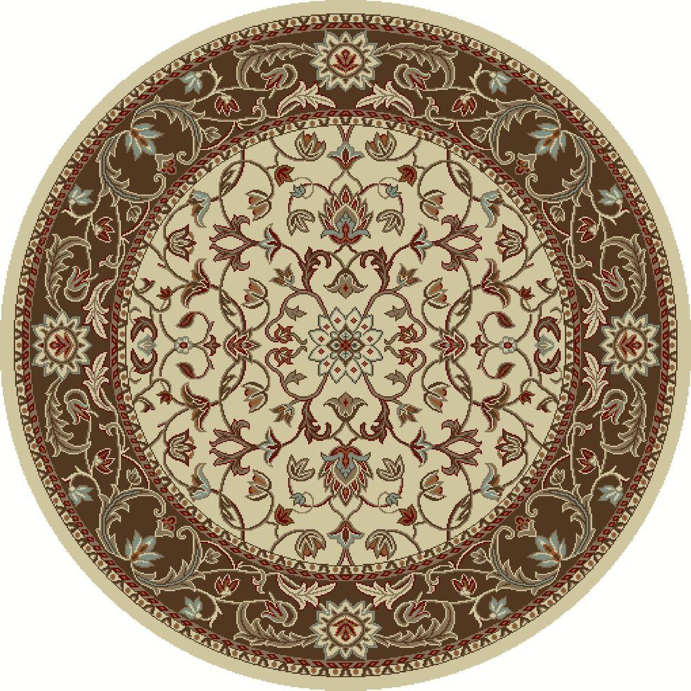 Chester Flora Ivory 5 ft. 3 in. Round Area Rug