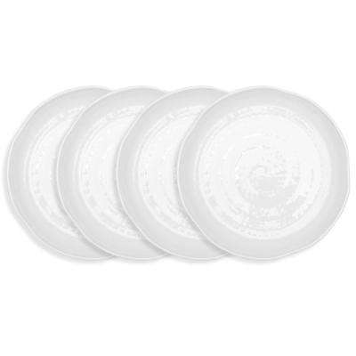 Pearl 4-Piece 11 in. White Melamine Dinner Plate Set