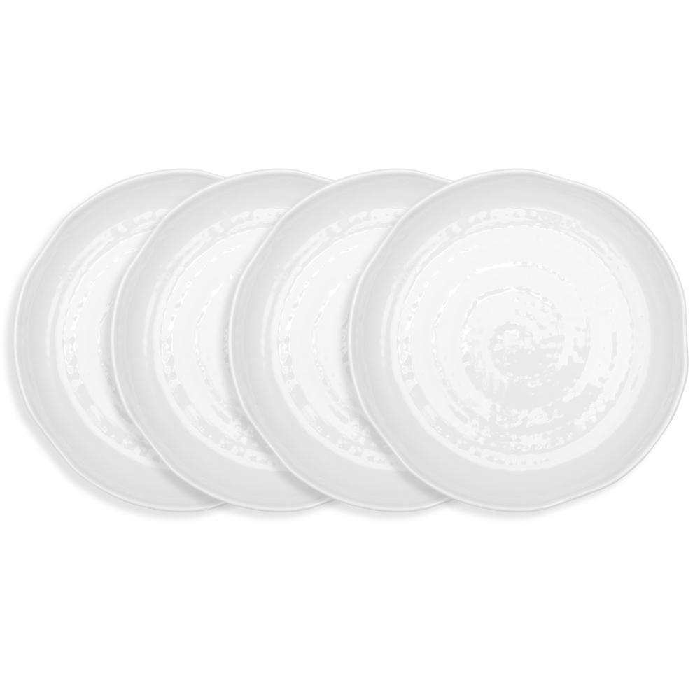 Pearl 4-Piece 11 in. White Melamine Dinner Plate Set