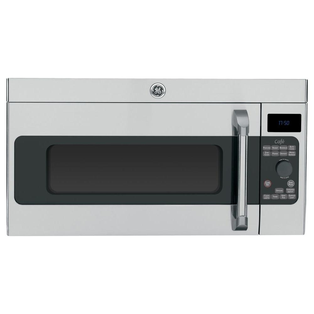 Cafe 1 7 Cu Ft Over The Range Microwave In Stainless Steel With Sensor Cooking
