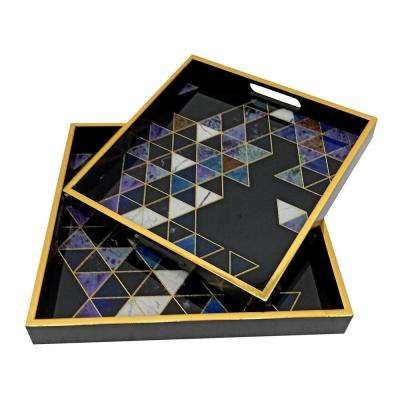 7.9 in. Black Glass/Wood Tray (Set of 2)