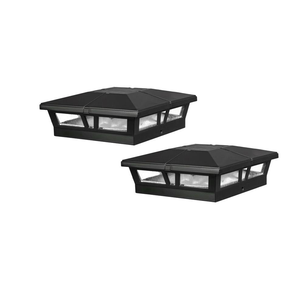 Cambridge 6 in. x 6 in. Outdoor Black LED Solar Post Cap (2-Pack)