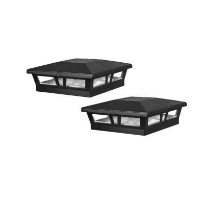 Cambridge 6 in. x 6 in. Outdoor Black LED Solar Post Cap (2-Pack)