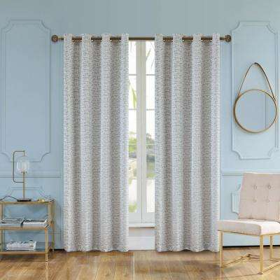 Elite 95 in. L x 54 in. W Semi-Opaque Room Darkening Polyester Curtain in Frost Grey