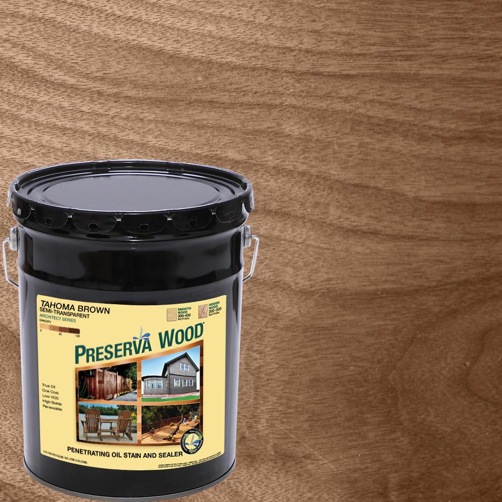 5 gal. Tahoma Brown Semi-Transparent Oil-Based Wood Stain