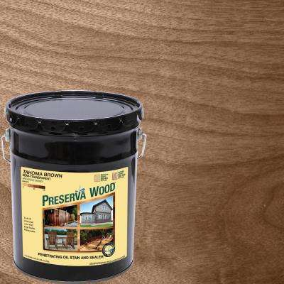 5 Gal. Tahoma Brown Semi-Transparent Oil-Based Exterior Wood Stain