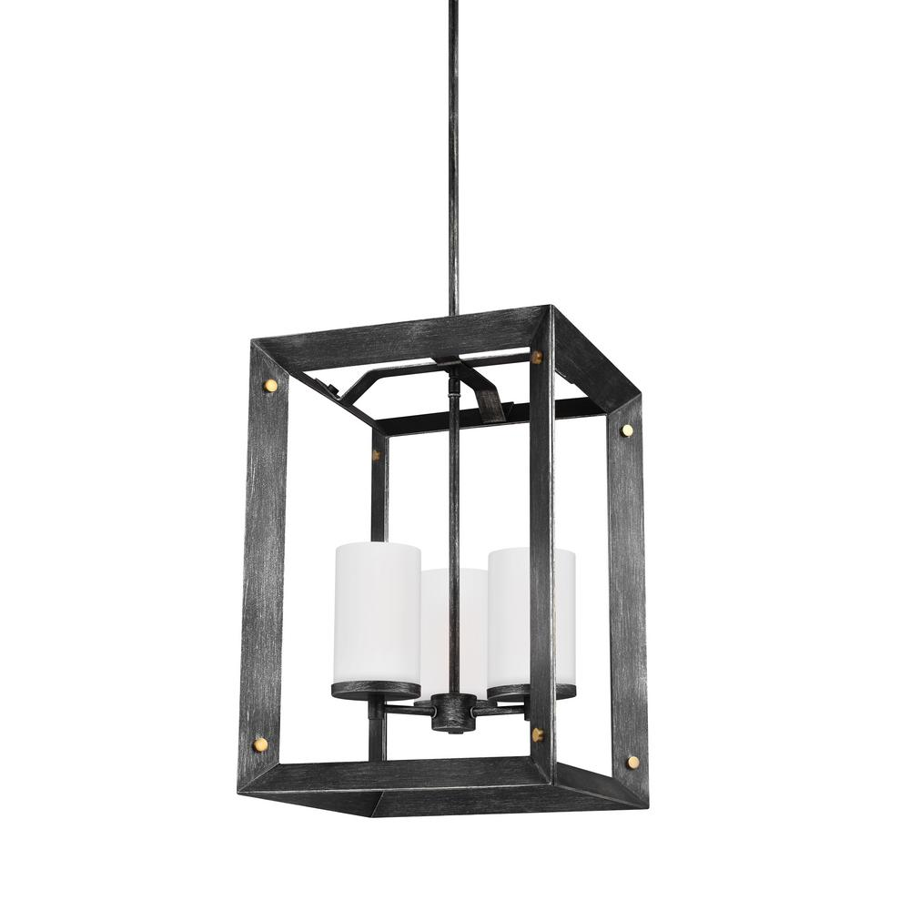 Chatauqua 14 in. W. 3-Light Weathered Gray and Distressed Oak Hall-Foyer