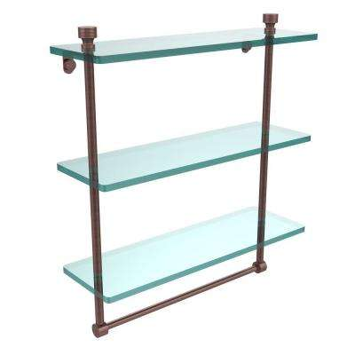 Foxtrot 16 in. L  x 18 in. H  x 5 in. W 3-Tier Clear Glass Bathroom Shelf with Towel Bar in Antique Copper