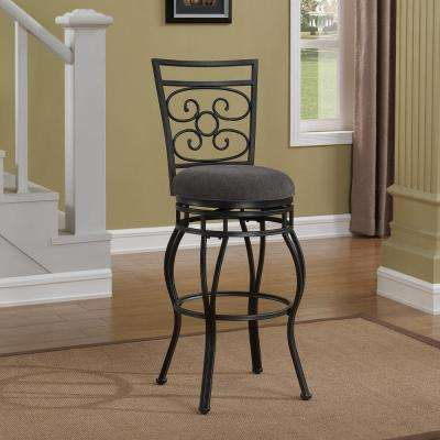 Albany 30 in. Dark Grey Swivel Counter Stool