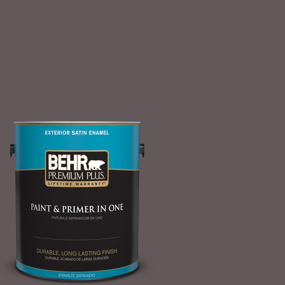 BEHR Premium Plus 1-gal. #T14-10 Coffee Bar Satin Enamel Exterior Paint