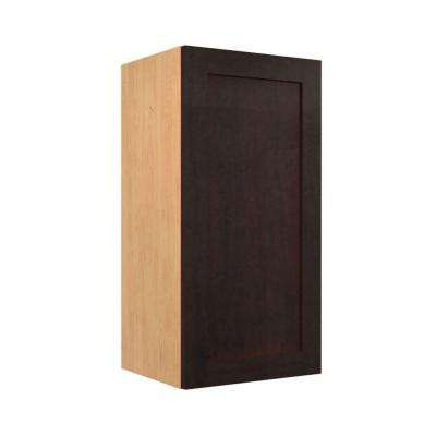 Elice Ready to Assemble 18 x 30 x 12 in. Wall Cabinet with 1 Soft Close Doors in Mocha