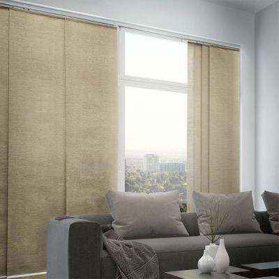 Adjustable Sliding Panel / Cut to Length, Curtain Drape Vertical Blind, Natural Woven, Privacy - Nevada Timberwolf