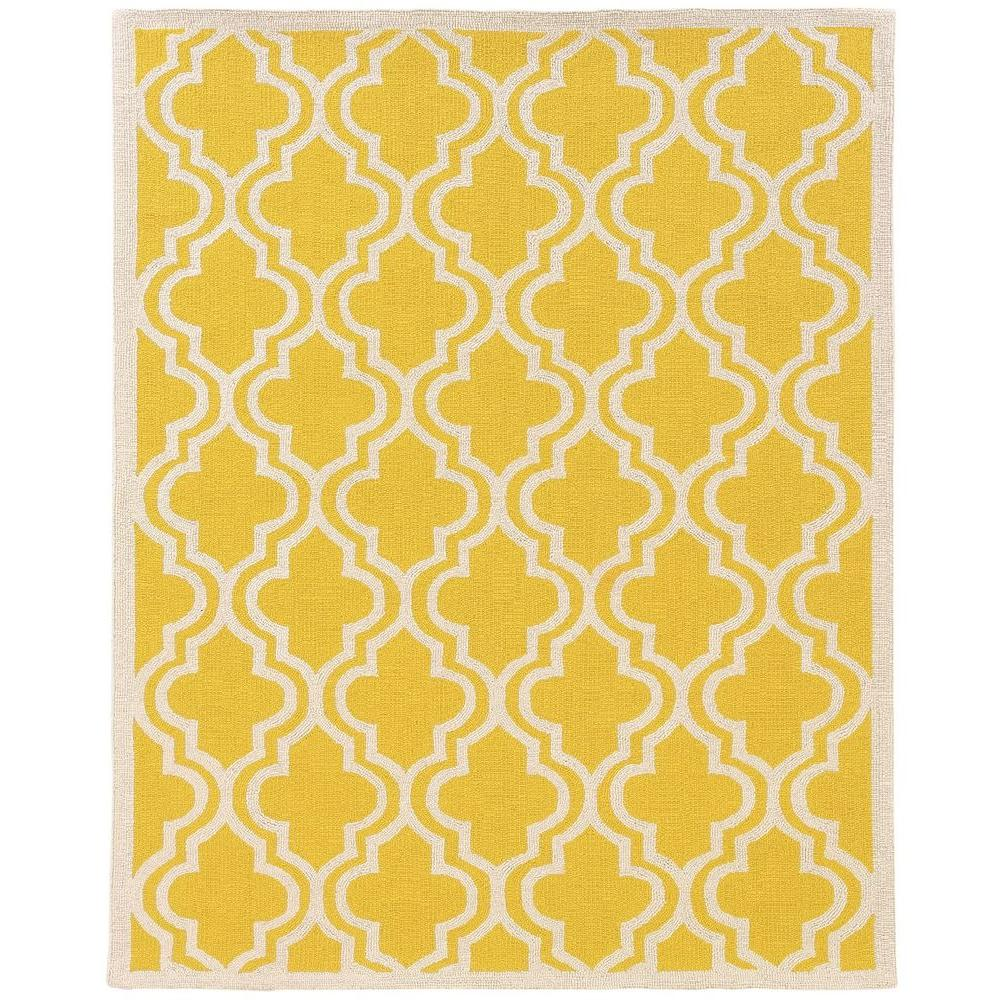 Linon Home Decor Silhouette Quatrefoil Yellow And White 5 Ft X 7 Indoor