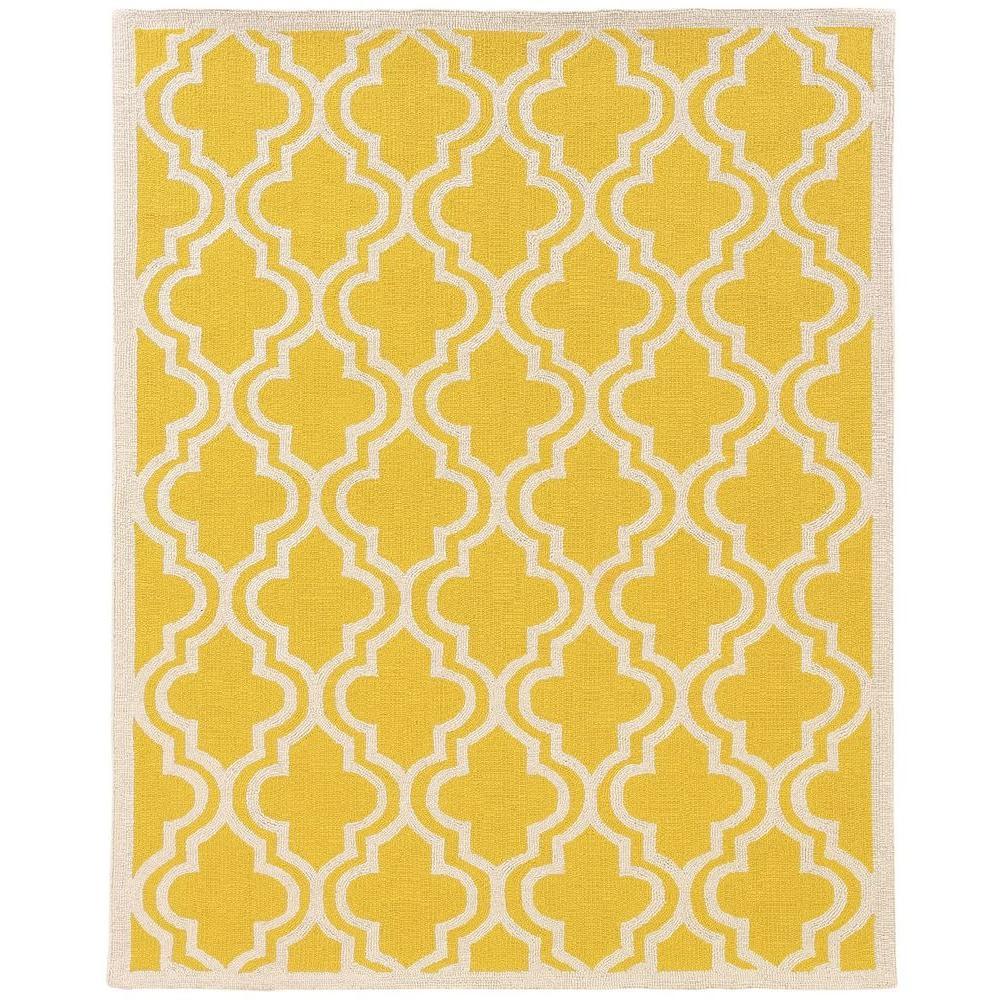 Linon Home Decor Silhouette Quatrefoil Yellow And White 8 Ft X 10 Indoor