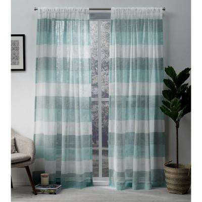 Bern 54 in. W x 84 in. L Sheer Rod Pocket Top Curtain Panel in Teal (2 Panels)